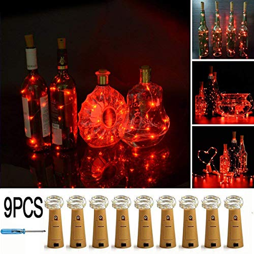 (LXS Bottle Lights Battery Powered,10 LED Silvery Copper Wire Wine Lights,Mini Cork Lights String for DIY Christmas Party Wedding Centerpiece or Table Decoration,9)
