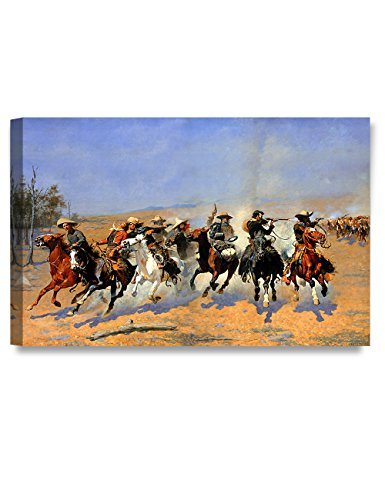 DECORARTS -A Dash for The Timber, Frederic Remington Classic Art Reproductions. Giclee Canvas Prints Wall Art for Home Decor 30x20 x1.5
