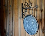 Oval Hanging Chalk Board Sign on Bracket Wrought Iron vintage old style shingle