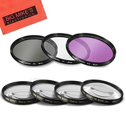 49mm 7 Piece Filter Set for Sony 18-55mm DT E-mount, 55-210m