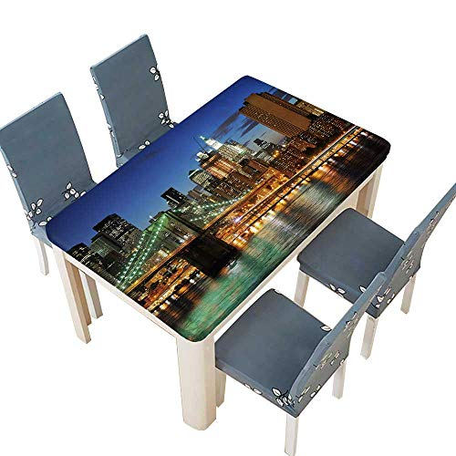PINAFORE Polyester Tablecloth New York City Brooklyn Bridge Downtown at Night Tablecloth for Wedding/Party W45 x L84.5 INCH (Elastic Edge) ()
