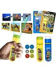 Zaklamp kinderen, kinderen projector zaklamp kleine diavoorstelling zeedieren + bosdieren, voor kinderen goede nachtgeschiedenis beamer speelgoed (48 foto's, 6 dia-schijven)