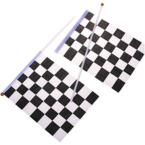Kloud City ® 20 Pcs 8'' x 6'' Checkered Flag Racing Polyester Flags on Plastic (Checkered Flag Racing)