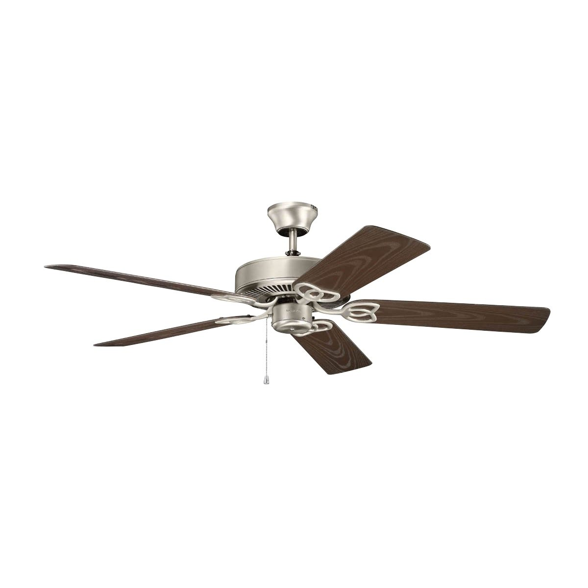 Kichler Lighting 401NI Basics Patio 52IN 5-Blade Damp-Rated Ceiling Fan, Brushed Nickel Finish with Coffee Mocha ABS Blades