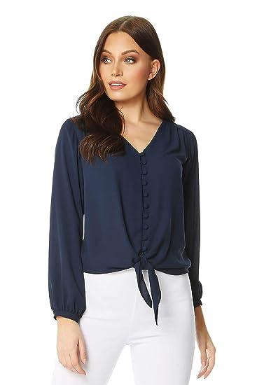 54611ee7 Roman Originals Button Tie Front Blouse: Amazon.co.uk: Clothing