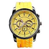 HACBIWA Sports Women Men 3-eye Yellow Quartz Silicon Wrist Watches
