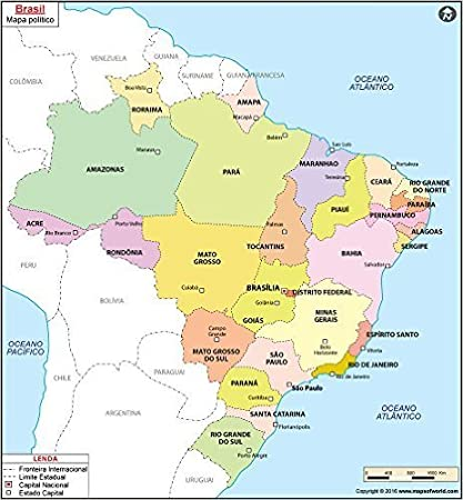 Amazon.com : Brazil Map in Portuguese (36\