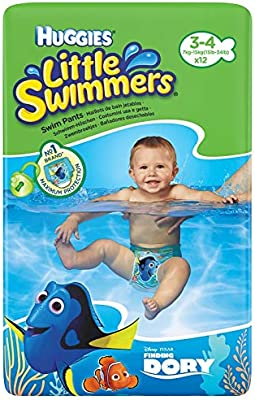 7 a 15 kg HUGGIES Pa/ñales Little Swimmers Talla 3//4 Paquete de 12 pa/ñales