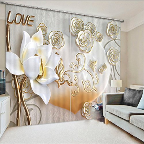 LB Polyester 2 Panels Flower Inlaid with Gold Show Love,3D Effect Print Blackout Window Curtains,Modern Practical Window Treatment Decorative,Bedroom Living Room Window Drapes (60''W by 65.5''L)
