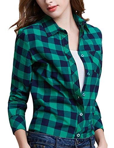(Tanming Women's Long Sleeve Fashion Plaid Shirts (Medium,)