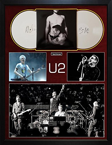 Bono U2 Adam Clayton Signed Vinyl Records Custom Display AFTAL UACC RD COA