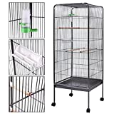 58'' Parrot Bird Finch Cage Play Top Pet Supplies w/Perch Stand Two Doors Flattop