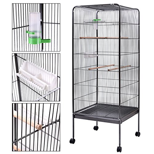 58'' Parrot Bird Finch Cage Play Top Pet Supplies w/Perch Stand Two Doors Flattop by Unknown