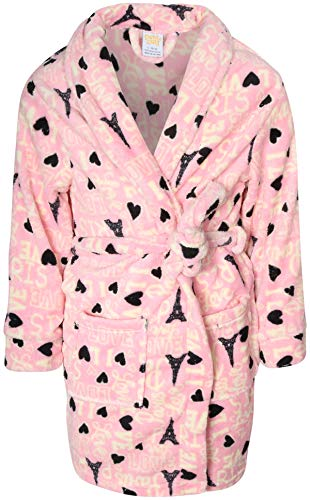 Sweet & Sassy Girls Coral Fleece Printed Robe (Pink Paris, 4-5)'