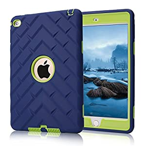 iPad mini 4 Case, iPad A1538/A1550 Case, Hocase Rugged Shockproof Anti-Slip Hybrid Hard Shell+Silicone Rubber Bumper Protective Case for Apple iPad mini 4th Generation 2015 - Navy Blue / Lime Green