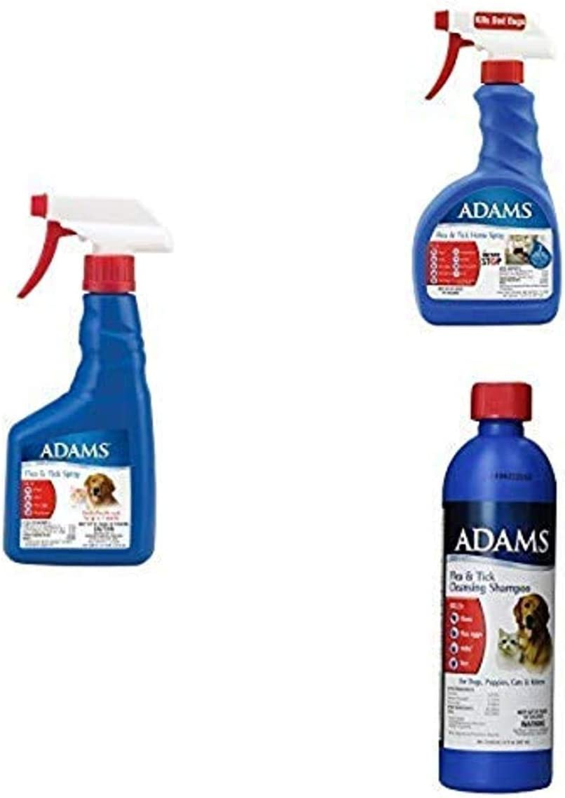 Adams Flea & Tick Control For Cats & Dogs, Pet Spray + Pet Cleansing Shampoo + Home Spray, Multi-Pet Protection Bundle