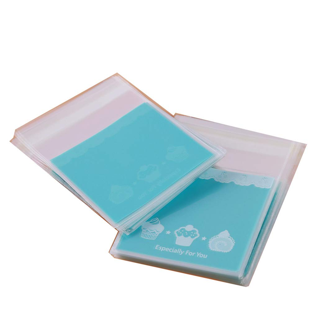 LJSLYJ 100 Pcs Cute Biscuits Food Package Cookie Candy Bag Wedding Party Supplie Gift Bag Self-Adhesive Plastic Pouch Chocolate Cake Bag (Blue, S)