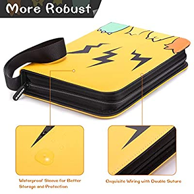 Geecow 4-Pocket Binder Compatible with Pokemon Cards, Portable Storage Case with Removable Sheets Holds Up to 400 Cards-Trading Cards Collectors Album for Pokemon, Yellow: Toys & Games