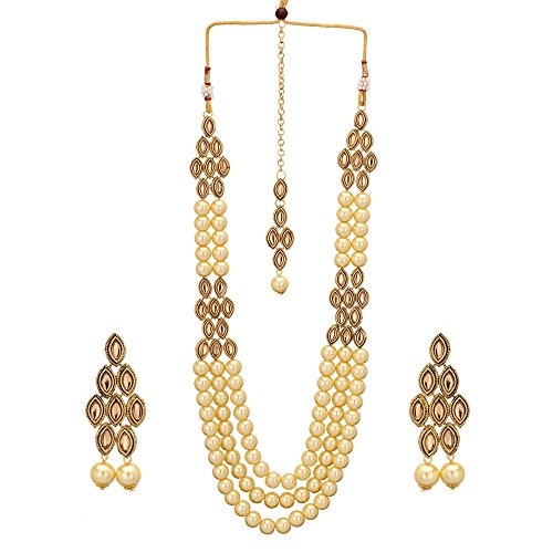 Jwellmart Indian CZ Traditional Bridal Wedding Party Wear Kundan Necklace Set for Women and Girls (Brown) by Jwellmart