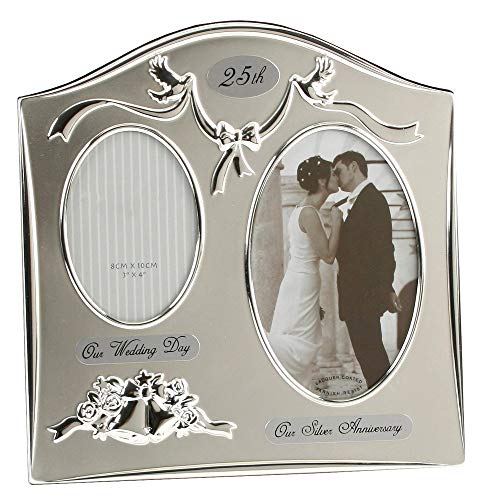 Two Tone Silver Plated 25th Silver Anniversary Double Picture Frame By Haysom Interiors