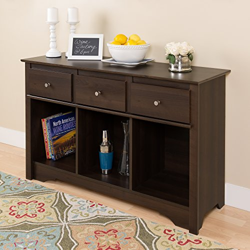Espresso Living Room Console (Table With Baskets Console)