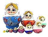 Winterworm Set of 10 Cutie Lovely Colorful Butterfly Blue Wooden Nesting Dolls Matryoshka Russian Doll Popular Handmade Kids Girl Gifts Toy