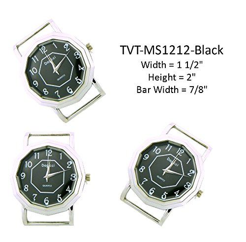 PlanetZia Dagicci Ribbon Watch Faces for Your Interchangeable Beaded Bands TVT-MS1212 (Black)