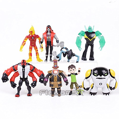 Ben 10 Ben Tennyson Four arms Grey Matter Kineceleran Diamondhead Heatblast PVC Action Figures Kids Toys Gifts 9pcs/set ()