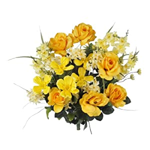 House of Silk Flowers Artificial 24-inch Yellow Rose/Delphinium/Cosmos Bush