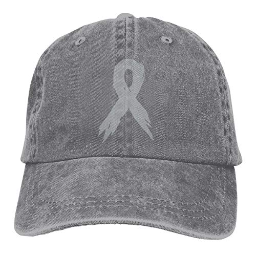 Men Women Classic Cotton Denim Baseball Cap Brain Cancer Awareness Ribbon Adjustable Trucker Cap ()