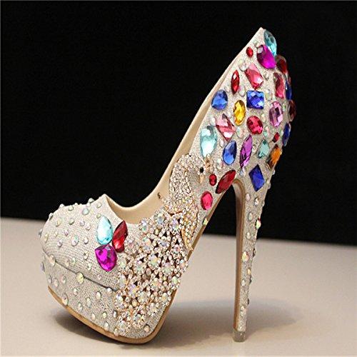 Si& Strass set Handbuch/weiblich Phoenix/Silber high heels Plattform/Farbe/Kristall Hochzeit Schuhe/Bridal Shoes White