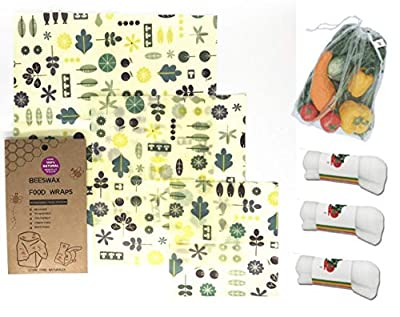 Produce Bag And Beeswrap Eco Bundle: 4 Reusable Grocery Produce bags and 3 Beeswax Food Wraps