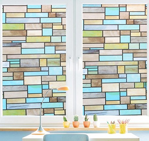 Window Decor (Niviy Privacy Window Covering Brick Stained Glass Window Film Waterproof Static Window Cling, 17.7
