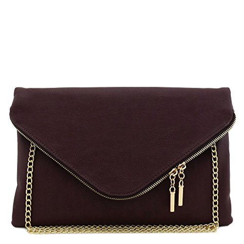 Large Envelope Clutch Bag with Chain Strap (Wine)