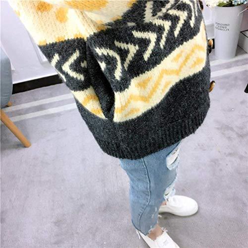 V Lunga Elegante Button Giovane neck Giacca Women Grau Laterali Pattern Outwear A Maglia Manica Maglioni Donna Tasche Lunghi Stampate Baggy Caldo Jumper Wq7PC