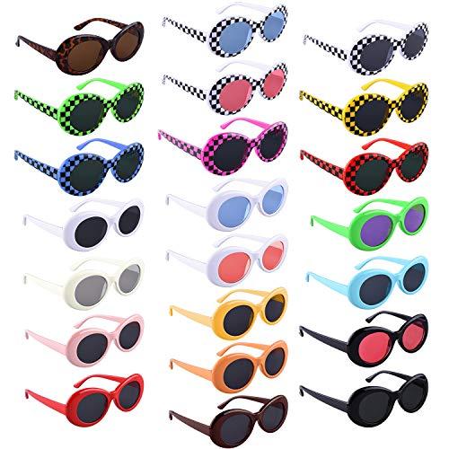 SIQUK 22 Pairs Retro Clout Oval Goggles 22 Colors Retro Kurt Mod Sunglasses