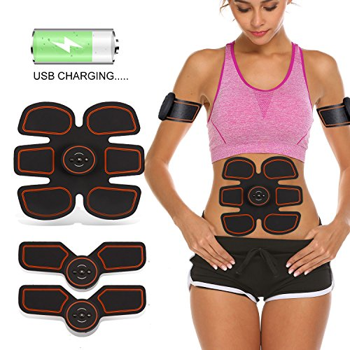 Pro USB Charging Muscle Toner Abdominal Toning Belt Workouts Portable AB Machine EMS Training Home Office Fitness Equipment for Abdomen/Arm/Leg Training Men Women