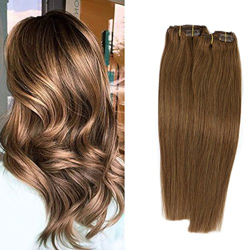 Clip in Human Hair Extensions Ash Brown #8 7 Pieces 70 Gram Silky Straight Double Weft Remy Hair Extensions Clip on For Fine Hair (Best Clip In Extensions For Fine Hair)