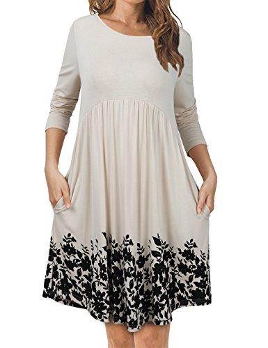 (FANSIC Dress with Pockets for Women, Skater Dress Juniors Scoop Neck Autumn Girls Cute Flower Tunics Apricot Medium)
