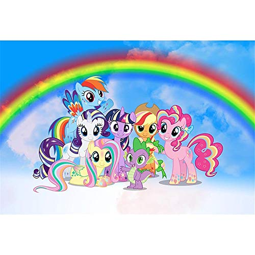 (Birthday BackdropMy Little Pony 7x5ft Blue Skyline with Cartoon Rainbow Background for Photo Studio Baby Girls Birthday Banner 1st Boy Backgrounds)