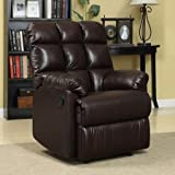 ProLounger Wall Hugger Microfiber Biscuit Back Renu Leather Recliner Chair, Brown