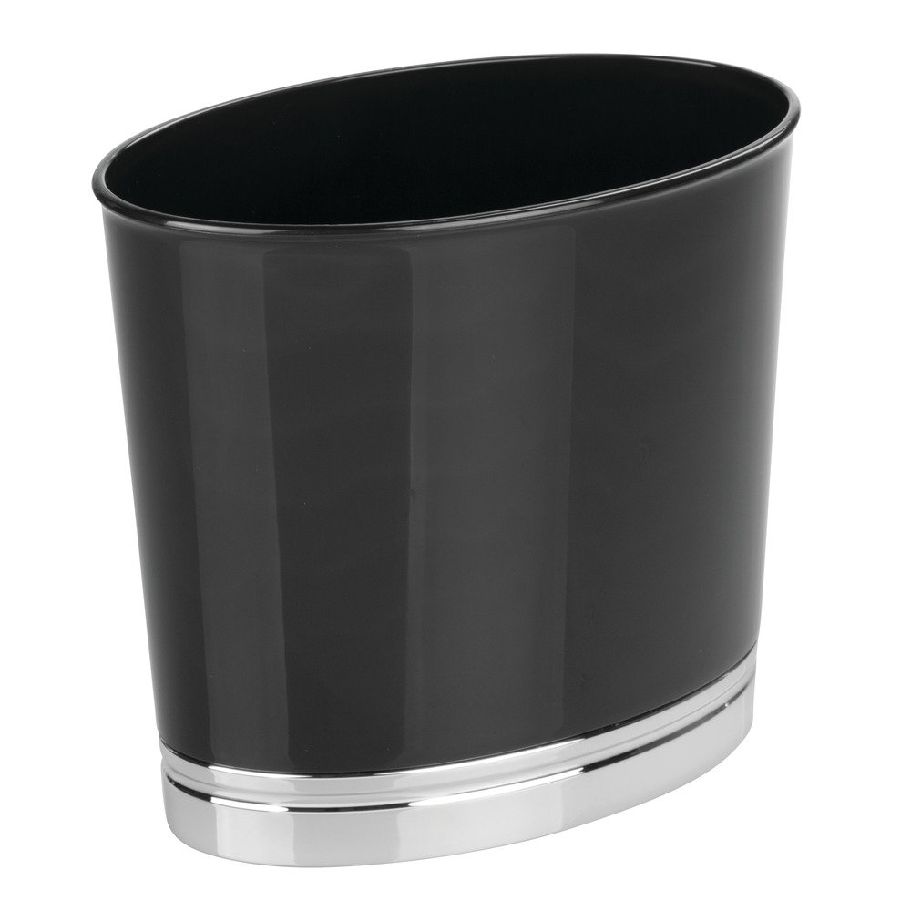 Black InterDesign 78987 York Bathroom Vanity Countertop Wastebasket Trash Can