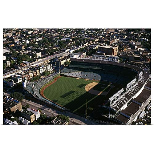 (GREATBIGCANVAS Poster Print Entitled Aerial View of a Baseball Stadium, Wrigley Field, Chicago, Cook County, Illinois, by 18