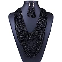 Qiyun Gold Multi-Layer Chunky Long Seed Beaded Long Necklace Earrings Set Multi-Couche De L'Or a Long Semences a Long Collier