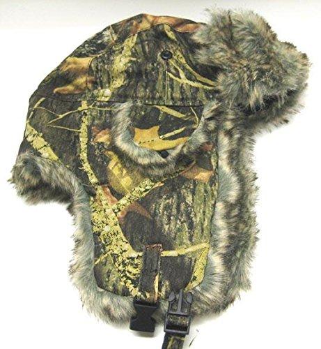 Dakota Womens Cap (Dakota Dan Trooper Ear Flap Cap w/ Faux Fur Lining Hat (Camo Green/Brown))
