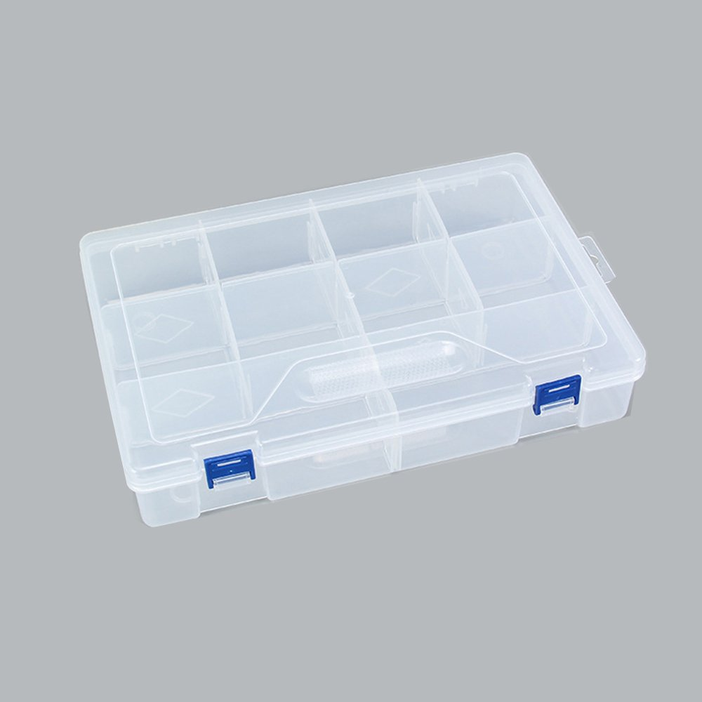 Spring fever Multi-Grid Clear Plastic Storage Box Organizer with Adjustable Dividers for Electronic Components, Hardware and Craft