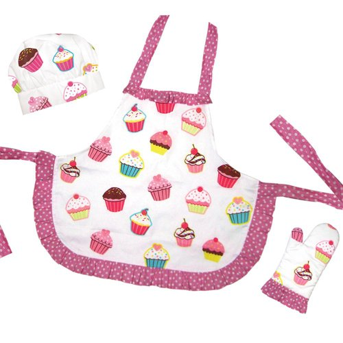 Kids Holiday Apron Set - Sassafras The Little Cook Ruffled Cupcake Apron Set includes Apron, Kitchen Mitt and Hat