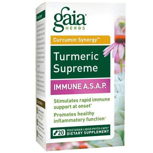 Gaia Herbs Turmeric Supreme Immune A.S.A.P. -- 20 Vegetarian Liquid Phyto- Caps - 2pc