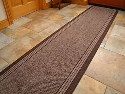 HALL RUNNER - CARPET RUNNER - ENTRANCE MATTING - BROWN Carpet 66cm wide choose your own size in 1ft (foot): Amazon.co.uk: Kitchen & Home