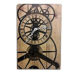 Steampunk Wall Clock with Antique Gears Design on Stained Distressed Solid Wood 17 x 11